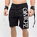 cheap Running Shirts, Pants & Shorts-Men's Drawstring Running Shorts - Black Sports Letter Baggy Shorts Fitness, Gym, Workout Activewear Quick Dry, Breathable, Sweat-wicking Stretchy