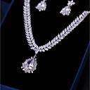ieftine Colier la Modă-Pentru femei Zirconiu Cubic Set bijuterii - Leaf Shape Modă, Elegant Include Cercei Picătură Coliere cu Pandativ Alb Pentru Nuntă Serată / Σκουλαρίκια