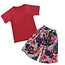 billige Skuldertasker-Baby Pige Sommerfugl Blomstret Kortærmet Tøjsæt