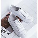 זול סניקרס לנשים-בגדי ריקוד נשים נעליים עור סתיו נוחות נעלי ספורט שטוח לבן / שקד