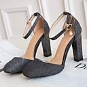 cheap Women's Slip-Ons & Loafers-Women's Shoes PU(Polyurethane) Fall Comfort / Basic Pump Heels Chunky Heel Gold / Black / Silver