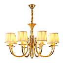 cheap Chandeliers-QIHengZhaoMing 8-Light Candle-style Chandelier Ambient Light Brass Metal Fabric Crystal 110-120V / 220-240V Warm White Bulb Included