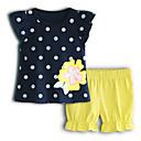 ieftine Set Îmbrăcăminte Bebeluși-Bebelus Fete De Bază Buline Manșon scurt Bumbac Set Îmbrăcăminte / Copil
