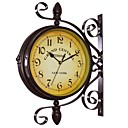 cheap Christmas Party Supplies-Vintage Double Sided Wall Clock Iron Metal Silent Quiet Grand Central Station Wall Clock Art Clock Decorative Double Faced Wall Clock 360 Degree Rotate Antique Wall Clock (Dark Brown Color)