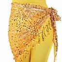 baratos Acessórios de Dança-Dança do Ventre Comum Lenços de Quadril para Dança do Ventre Mulheres Treino Espetáculo Poliéster Cinto Lantejoula Mocassim Moderno Lazer