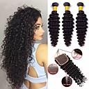 tanie Dopinki naturalne-3 zestawy z zamknięciem Włosy malezyjskie Curly Włosy naturalne Taśma włosów z zamknięciem Kolor naturalny Ludzkie włosy wyplata Miękka / Klasyczny / Gorąca wyprzedaż Ludzkich włosów rozszerzeniach