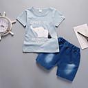 povoljno Kompletići za dječake-Dijete koje je tek prohodalo Dječaci Aktivan / Osnovni Dnevno / Izlasci Mačka Print Print Kratkih rukava Regularna Pamuk / Akril Komplet odjeće Plava