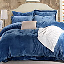 cheap Solid Duvet Covers-Duvet Cover Sets Solid Colored / Geometric Poly / Cotton Reactive Print 4 Piece