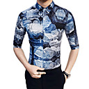 cheap Men's Bracelets-Men's Party / Daily Cotton / Rayon Shirt - Floral / Geometric / Please choose one size larger according to your normal size.
