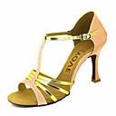 abordables Zapatos de Baile Latino-Mujer Zapatos de Baile Latino / Zapatos de Salsa Satén / Semicuero Sandalia / Tacones Alto Hebilla / Corbata de Lazo Tacón Personalizado Personalizables Zapatos de baile Bronce / Almendra / Nudo