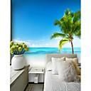 זול הדפסים-מותאם אישית חוף הים קוקוס עץ 3D גדול קיר כיסוי טפט טפט מתאים למשרד מסעדה מסעדה נוף לים