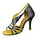 baratos Sapatos de Dança Latina-Mulheres Sapatos de Dança Latina / Sapatos de Salsa Couro Ecológico Sandália / Salto Presilha / Cadarço de Borracha Salto Personalizado Personalizável Sapatos de Dança Prateado / Azul / Dourado
