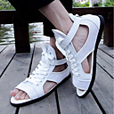 tanie Ślubne obuwie damskie-Męskie Komfortowe buty Tiul Lato Sandały Biały / Czarny