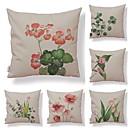 ieftine Fețe de Pernă-6 buc Textil / Bumbac / In Față de Pernă, Floral / Art Deco / Imprimare Simplu / Formă pătrată