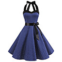 cheap Women's Boots-Women's Polka Dot Party / Daily Vintage / Cute Slim A Line Dress - Polka Dot Print Summer Cotton Black Red Light Blue L XL XXL