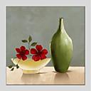 זול ציורי סגנון חיים-ציור שמן צבוע-Hang מצויר ביד - טבע דומם פרחוני / בוטני מודרני בַּד
