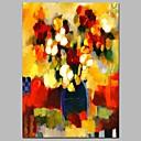 tanie Obrazy: motyw roślinny/botaniczny-Hang-Malowane obraz olejny Ręcznie malowane - Streszczenie / Kwiatowy / Roślinny Nowoczesny Brezentowy / Rozciągnięte płótno