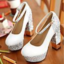 cheap Women's Heels-Women's Shoes PU(Polyurethane) Summer Comfort Heels Chunky Heel White / Black / Silver / Party & Evening / Party & Evening