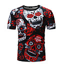 abordables Camisas de Hombre-Hombre Estampado - Algodón Camiseta Floral / Cráneos Rojo XL