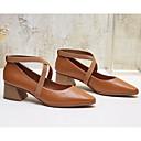 رخيصةأون أحذية نسائية-نسائي Leather نابا / جلد الربيع مريح / ارتفاع كلاسيكي كعوب كعب متوسط أسود / خمر / مارون