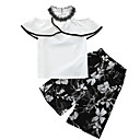 cheap Girls' Clothing Sets-Kids Girls' Solid Colored Short Sleeve Clothing Set