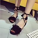baratos Acessórios Lolita-Mulheres Sapatos Pele Nobuck Verão Conforto Sandálias Sem Salto Preto / Vermelho / Verde / Com Laço
