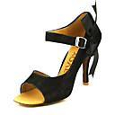 baratos Sapatos de Dança Latina-Mulheres Sapatos de Dança Latina / Dança de Salão / Sapatos de Salsa Veludo Sandália Presilha Salto Personalizado Personalizável Sapatos de Dança Preto / Amarelo / Couro / Couro