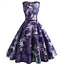 baratos Anáguas para Vestidos de Noiva-Mulheres Vintage balanço Vestido - Estampado, Floral Altura dos Joelhos