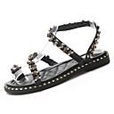 ieftine Sandale de Damă-Pentru femei Pantofi PU Vară Confortabili Sandale Toc Jos Vârf rotund Piatră Semiprețioasă Negru / Bej