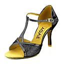 cheap Modern Shoes-Women's Dance Shoes Latin/Salsa Leatherette/Sparkling Glitter/Paillette Heel Black/Blue/Red/Silver/Gold Customizable