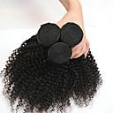 Недорогие Накладки из неокрашенных волос-3 Связки Индийские волосы Kinky Curly 8A Натуральные волосы Головные уборы Удлинитель Накладки из натуральных волос 8-28 дюймовый Черный Естественный цвет Ткет человеческих волос