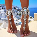 cheap Sexy Uniforms-Women's Thick Chain Barefoot Sandals Imitation Diamond Ladies European Bikini Anklet Jewelry Gold / Silver For Daily Bikini Cosplay Costumes