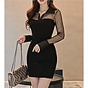 cheap Synthetic Capless Wigs-Women's Going out Sophisticated Slim Bodycon Dress - Solid Colored Mesh Mini Stand / Sexy