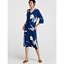cheap Religious Jewelry-Women's Going out Cotton A Line Dress Blue, Print Maxi