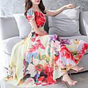 ieftine Seturi Îmbrăcăminte Fete-Pentru femei Mărime Plus Size Ieșire Swing Rochie - Imprimeu, Floral Midi / Vară
