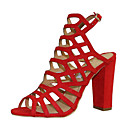 cheap Women's Heels-Women's Shoes Faux Leather Summer Gladiator Sandals Chunky Heel Peep Toe Buckle Brown / Red / Royal Blue / Party & Evening