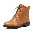 povoljno Ženske cipele s petom-Žene Cipele PU Jesen zima Modne čizme Čizme Niska potpetica Okrugli Toe Čizme gležnjače / do gležnja Crn / Bež / Braon