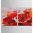 tanie Obrazy olejne-Hang-Malowane obraz olejny Ręcznie malowane - Abstrakcja / Kwiatowy / Roślinny Nowoczesny Naciągnięte płótka / Rozciągnięte płótno
