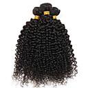 voordelige Natuurlijke kleur haarweaves-4 bundels Braziliaans haar Gekruld 8A Echt haar Menselijk haar weeft Verlenging Extentions van mensenhaar 8-28 inch(es) Zwart Menselijk haar weeft Zijdeachtig Feest Geweven Extensions van echt haar