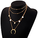 cheap Necklaces-Women's Layered Layered Necklace - Moon Simple, Elegant Gold, Silver 30 cm Necklace Jewelry 1pc For Daily
