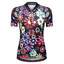 billige Cykeltrøjer-WOSAWE Dame Kortærmet Cykeltrøje - Sort Reaktivt Print Blomster / botanik Cykel Trøje, Refleksbånd Net 100% Polyester