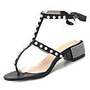 ieftine Flip-Flops de Damă-Pentru femei Pantofi PU Primavara vara Pantofi pe Gleznă Sandale Toc Îndesat Imitație de Perle Negru / Argintiu