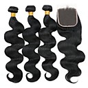 cheap Human Hair Weaves-3 Bundles with Closure Peruvian Hair Wavy Human Hair Natural Color Hair Weaves / Hair Bulk / Extension / Hair Weft with Closure 8-22 inch Natural Natural Color Human Hair Weaves 4x4 Closure Best