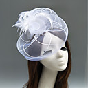 cheap Hair Braids-Feather / Net Fascinators / Hats / Headdress with Feather / Floral / Flower 1pc Wedding / Special Occasion Headpiece
