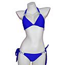 preiswerte Anime-Kostüme-Damen Grundlegend / Boho Halter Blau Dreieck Cheeky-Bikinihose Bikinis Bademode - Solide Rückenfrei / mit Schnürung S M L / Sexy