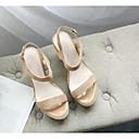 povoljno Ženske oksfordice-Žene Cipele Ovčja koža Ljeto Udobne cipele Sandale Wedge Heel Crn / Badem