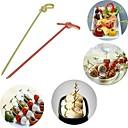 preiswerte Geschirr-100pcs Einweg Bambus Gabel twisted Party Buffet Obst Desserts Sandwich Stick Spieß