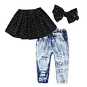 cheap Girls' Clothing Sets-Toddler Girls' Active / Basic Holiday / Going out Polka Dot Bow / Ripped Sleeveless Short Spandex Clothing Set Black 2-3 Years(100cm)