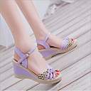 ieftine Sandale de Damă-Pentru femei Piele Vară Confortabili Sandale Toc Platformă Pantofi vârf deschis Cataramă Negru / Mov / Albastru