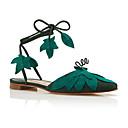 رخيصةأون مجوهرات الجسم-للمرأة أحذية فرو ظبي صيف مريح صنادل كعب مسطخ أخضر